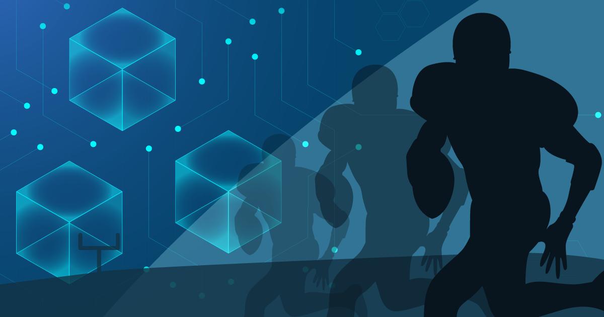 football player on blockchain, football background